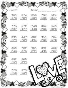Free 3 Digit Subtraction Printable