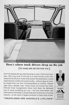 1961 International Harvester Trucks original vintage advertisement. Here's where truck drivers sleep on the job. Member of the American Trucking Industry.