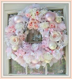 Treasury List Shabby Chic Rose Pink White Candy Princess Christmas Fall Wreath French Farmhouse Marie Antoinette Victorian Ornament  SCT. $110.00, via Etsy.