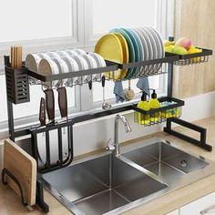 Over Sink Dish Drying Rack - Homewhis Diy Kitchen Storage, Diy Kitchen Cabinets, Kitchen Dishes, New Kitchen, Kitchen Shelf Organizer, Kitchen Sink Organization, Kitchen Storage Solutions, Compact Kitchen, Kitchen Helper
