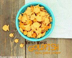 Homemade whole wheat goldfish crackers. Great snack solution for kids from Super Healthy Kids