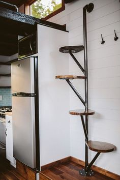 38 Clever Loft Stair Design for Tiny House Ideas - Insidexte.- 38 Clever Loft Stair Design for Tiny House Ideas - Tiny House Stairs, Tiny House Loft, Loft Stairs, Building A Tiny House, Tiny House Living, Tiny House Plans, Tiny House Design, Tiny House On Wheels, Mezzanine Loft