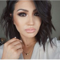 Wedding guest- I love this look for a wedding because of the flawless skin! Nice light smokey eye with wispy lashes and nude glossy lip. The make up looks like it would last all day and is a good transition makeup from day to night