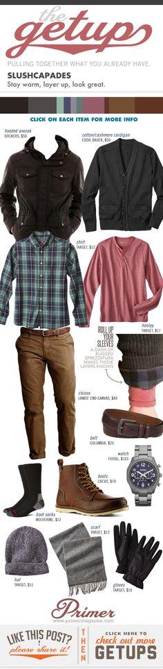 The Getup: Slushcapades - Primer. Stay warm, layer up. Men's Fashion, Winter Fashion, Fashion Outfits, Fashion Today, Fashion Styles, Sharp Dressed Man, Well Dressed, Cool Outfits, Casual Outfits