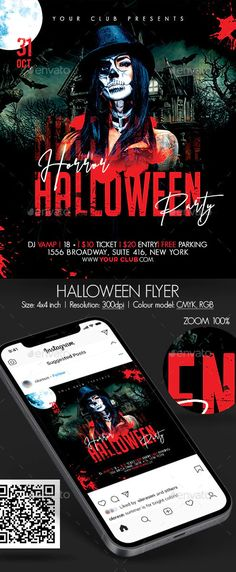 Halloween Flyer by oloreon | GraphicRiver Halloween Party Flyer, Halloween Vector, Halloween Halloween, Flyer Size, Event Flyer Templates, Free Park, Dj, Photoshop, Instagram