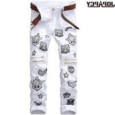 34.90$  Watch now - https://alitems.com/g/1e8d114494b01f4c715516525dc3e8/?i=5&ulp=https%3A%2F%2Fwww.aliexpress.com%2Fitem%2FWhite-Printed-Men-Jeans-Slim-Fit-Hip-Hop-Skinny-Fashion-Nightclub-Denim-Pants-Cotton-High-Quality%2F32785094761.html - White Printed Men Jeans Slim Fit Hip Hop Skinny Fashion Nightclub Denim Pants Cotton High Quality Cowboy Trousers MYA0486