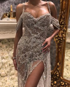 ryan and walter dress couture gorgeous outfit shine sparkle off the shoulders eleganza grace Elegant Dresses, Pretty Dresses, Beautiful Dresses, You're Beautiful, Beauty And Fashion, Look Fashion, Fashion Women, Classic Fashion, Grunge Fashion