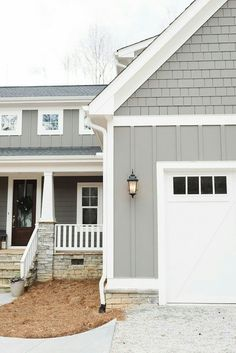 farmhouse exterior paint colors grey siding paint color is gauntlet gray and whi. farmhouse exterior paint colors grey siding paint color is gauntlet gray and white trim paint color Design Exterior, House Paint Exterior, Grey Siding House, Gray Exterior Houses, Gray Siding, Exterior Paint Sherwin Williams, Exterior Paint Schemes, House Siding Colors, Grey House Paint