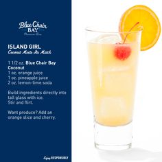 rum drink Blue Chair Bay Rum - Island Girl drink r - Beach Drinks, Summer Drinks, Cocktail Drinks, Fun Drinks, Cocktail Recipes, Alcoholic Drinks, Bourbon Drinks, Rum Recipes, Alcohol Drink Recipes