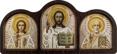 CE6004 Triptych table silver (Guardian Angel,Savior, Nicholas the Wonderworker)