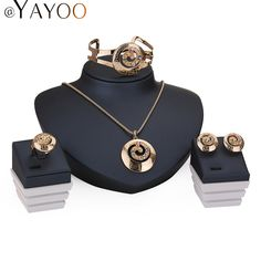 AYAYOO Bijoux Ensembles Pour Les Femmes Robe De Mariage En Alliage de Zinc Pendentif Collier Boucles D'oreilles Bagues Bracelet Bijoux Accessoires de Vacances
