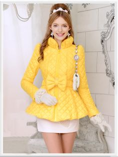 Morpheus Boutique  - Yellow Bow Down Long Sleeve Designer Jacket Coat