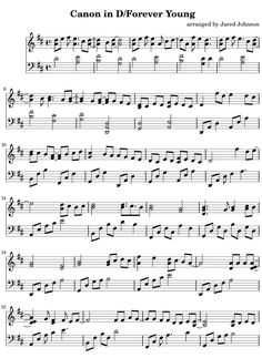 Free Piano Sheet Music - Canon in D / Forever Young -- Hear it here: http://www.jaredjohnson.com/sounds/Key_of_J/canon_in_d_forever_young.mp3