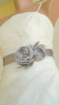 Handcraft Grey Two Flowers With Feathers Bridal Sash by elitewomen, $39.50
