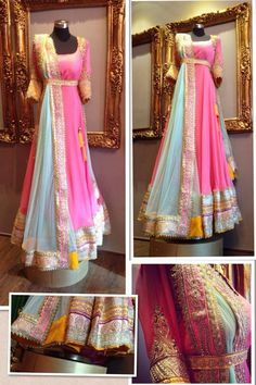 pink and blue anarkali