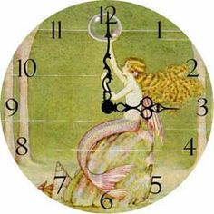 Antique wall clock with mermaid