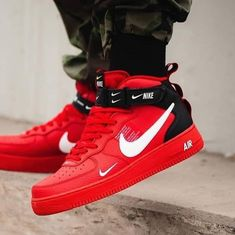 Nike Air Force 1 Mid 07 Red / Black Source by fashion black Sneakers Fashion, Fashion Shoes, Shoes Sneakers, Fashion Men, Nike Red Sneakers, Fashion Ideas, Yeezy Sneakers, Shoes Jordans, Footwear Shoes