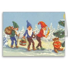 Vintage Scandinavian Christmas Elves in the Snow Forest Winter Card