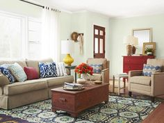 Neutral furniture gets a pick-me-up with patterned pillows and a rug. #hgtvmagazine http://www.hgtv.com/decorating-basics/a-night-shift-home-renovation/pictures/page-8.html?soc=pinterest