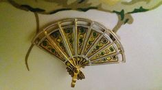 Damascene Brooch/Pin Pendant Movable Fan Gold Tone Vintage Painted Green Yellow #unknown