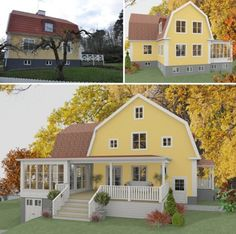 Referensobjekt | Dreams & Coffee AB Style At Home, House Front, My House, Yellow House Exterior, Foster House, Norwegian House, Swedish Cottage, Yellow Houses, House Extensions
