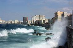 Waves pound El Malecon, a seawall and roadway in Havana, Cuba on March Original here. (Neiljs / CC BY-SA) # Havana, Varadero, Cuba Travel, Top Travel Destinations, Cuba Today, Visit Cuba, Island Nations, New Adventures, Travel Photos