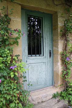 must paint laundry room door to look like this! Gray Front Door Colors, Laundry Room Doors, South Of France, Doorway, Shades Of Green, Garage Doors, Sweet Home, Exterior, Windows
