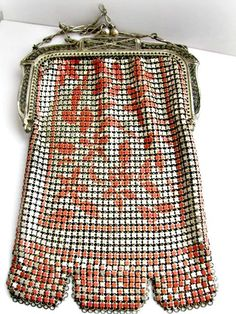 WHITING DAVIS Mesh Purse Art Deco with Pink Coral Design Vintage Flapper Bag, 1920s (hva)