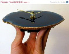 Agate Wall Clock,  Blue Agate Desk Clock, Blue and Gold, Decor and Housewares, Home and Living, Home Decor, Unique Wall Clocks