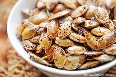 These Spicy Toasted Pumpkins Seeds are a tasty and healthy way to use those leftover pumpkin seeds, not to mention easy too.