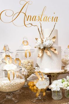 looking for baptism party ideas this gold white dessert table is just stunning