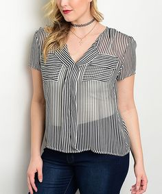 Black & White Sheer Stripe Ruffle-Front V-Neck Top - Plus by Curvy Lily #zulily