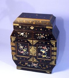 This is a superb antique Japanese table cabinet from the meiji period dating to 1880's  Top lifts to reveal a compartment  with painted design to inside lid, lock to lid (no key)  Fabulous inlaid mother of pearl design to the front doors and drawers, depicting  flowers and birds  The cabinet contains nine drawers, six of which are behind the decorative doors  Two drawers below lid section with mother of pearl inlay  Large inlaid mother of pearl decorated drawer to base