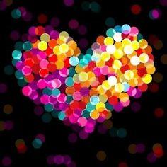 background, beautiful, black, blue, colours, cute, dark, heart, lights, love, neon, pretty, rainbow