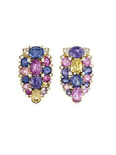 Cartier Multi-coloured Sapphire and Diamond Earrings