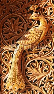 Peacock Relief Wood Effect Wall Mural Wallpaper 3 – Jessartdecoration Wood Carving Designs, Wood Carving Art, Phoenix, Chip Carving, Art Carved, Carved Wood, Wooden Art, Wooden Doors, Stock Foto