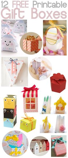 DIY Free Printable Paper Gift Boxes Crafts - various paper boxes, handmade paper gifts