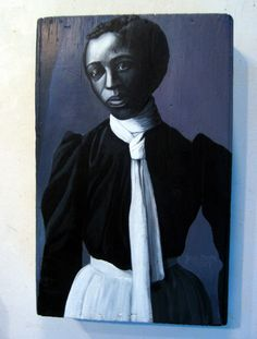 """Based on 1900 photo by W.E.B. Dubois shown in the 1900 Paris Exposition to fight racial stereotyping. """"Woman in White Apron"""""""