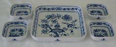 Cibulák Souprava misek čtyřhranných, 9,5 cm, originální cibulákový porcelán Dubí, cibulový vzor, 1.jakost
