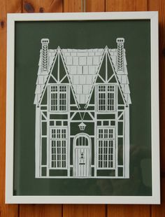 Framed English Architecture Papercut Your House by Miaukike
