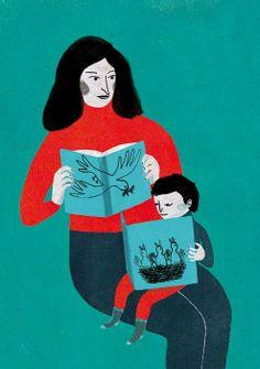 Muy evocadora esta ilustración de Ana Pez: la mamá alimenta de lecturas a su hijo.