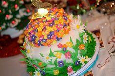Birthday Cake Field of Flowers - Strawberry Vanilla Swirl Cake with Strawberry White Chocolate Mousse Filling