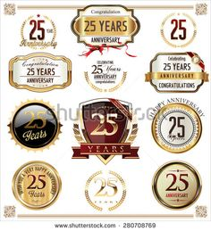 Anniversary label collection, 25 years - stock vector