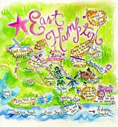 The Hamptons and New York City - Vacation Travel Guide New York City Vacation, Memorial Weekend, East Hampton, Beach Blanket, Watercolor Illustration, Watercolor Map, All The Way Down, Illustrations, Oh The Places You'll Go