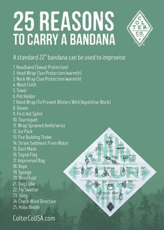 25 Reasons to carry a bandana, every day. Excellent thought starter on everyday bandana uses. The humble bandana is a classic piece of outdoor gear for a good reason. It is incredibly versatile! It's an essential item for camping, hiking, survival kits, f Survival Life, Wilderness Survival, Camping Survival, Outdoor Survival, Survival Prepping, Survival Skills, Survival Gear, Survival Hacks, Emergency Preparedness Kit