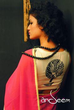 Andeem : retro, quirky saree from Bangladesh Sari Blouse Designs, Blouse Patterns, Beautiful Blouses, Beautiful Outfits, Indian Dresses, Indian Outfits, Ethnic Fashion, Indian Fashion, Formal Saree