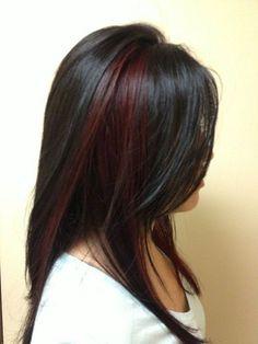 Image result for burgundy partial highlights