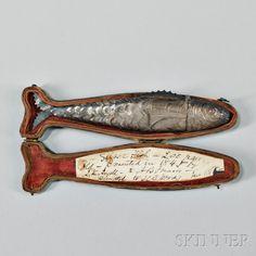 Silver Fish-form Etui, possibly late century Jewelry Art, Antique Jewelry, Jewelry Design, Fisher, Contemporary Jewellery, Metal Working, Jewelery, Art Nouveau, Pop Art