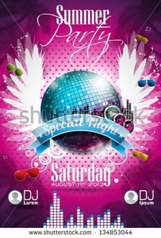 Vector Summer Beach Party Flyer Design with disco ball and wings on pink background. Eps10 illustration.