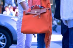 Hermes Herbag Zip in Orange and Tan, in Beverly Hills. Photo by Nazz Ebrahimi for pursechronicle. www.colourchronicle.com streetstyle, handbag, fashion BEVERLY HILLS, Ca. | http://colourchronicle.com